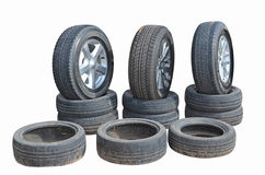 New and old tires with alloy wheels Stock Photos