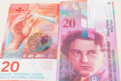 New and old twenty Swiss Franc bills Royalty Free Stock Images