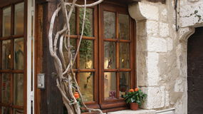 New, old and vines on classic Sicilian home window by Peter J Restivo Royalty Free Stock Photos