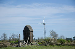 New and old windmills Stock Photography