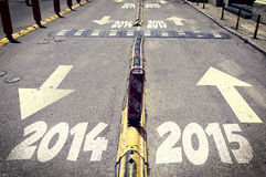 New and old year road Stock Photography