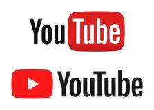 New and old YouTube logotypes. Kiev, Ukraine - December 06, 2017: New and old YouTube logotypes printed on paper. YouTube is a video-sharing website. The service Royalty Free Stock Photos