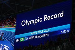 New Olympic Record in Men's pole vault Royalty Free Stock Photography