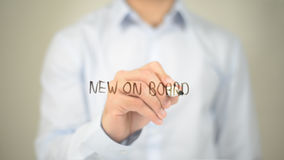 Free New On Board , Man Writing On Transparent Screen Royalty Free Stock Image - 99204216