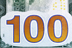 New one hundred dollar bill close-up shot. Royalty Free Stock Photography