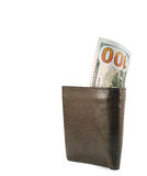 New one hundred dollar bills in wallet Stock Images