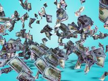 New one hundred dollars banknotes falling on the floor 3d render on blue background with shadow. New one hundred dollars banknotes falling on the floor 3d render stock illustration