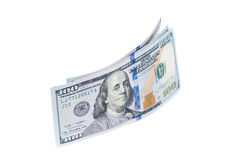 New one hundred dollars banknotes isolated on white. Background Royalty Free Stock Images