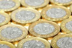 New one pound british coins Royalty Free Stock Image