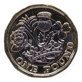 New 1 pound coin, United Kingdom isolated over white Stock Photos