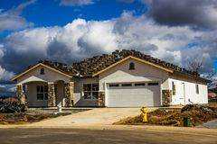 New One Story Home Construction stock image