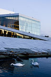 New Opera Design 1. The new opera-builinding in downtown harbour Oslo, Norway. It is possible to walk on the whole roof of the building. Designer is Snohetta Royalty Free Stock Photography
