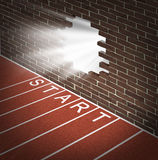 New Opportunities. And promising business openings at the start of a journey with track and field racing lines and a brick wall with a broken hole glowing with stock illustration