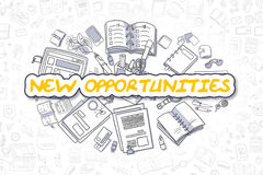 New Opportunities - Cartoon Yellow Word. Business Concept. Royalty Free Stock Photo