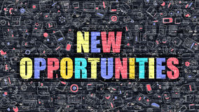 New Opportunities Concept. Multicolor on Dark Brickwall. New Opportunities Concept. Modern Illustration. Multicolor New Opportunities Drawn on Dark Brick Wall royalty free illustration