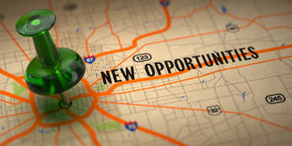 New Opportunities - Green Pushpin on a Map Background. stock photography