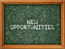 New Opportunities - Hand Drawn on Green Chalkboard. New Opportunities - Hand Drawn on Green Chalkboard with Doodle Icons Around. Modern Illustration with Doodle royalty free illustration