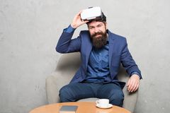 New opportunity. Modern software for business. Business implement modern technology. Business partner interact in. Virtual reality. Businessman sit chair wear stock photo