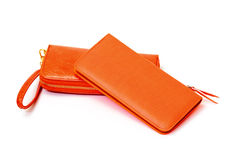 New Orange Leather Wallets Royalty Free Stock Photo