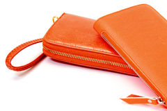 New Orange Leather Wallets Stock Photo