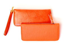 New Orange Leather Wallets Stock Image