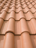 New orange roof tiles. Close up detail Stock Images