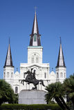 New Orleans. Church at New Orleans Louisiana, also showing a statue of bronze horseman Stock Photography