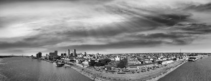 New Orleans aerial view in black and white, Louisiana - USA stock image