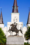 New Orleans Andrew Jackson Statue Monument. Historic St. Louis Cathedral is the backdrop for this statue of Andrew Jackson, located in the middle of Jackson Stock Photo