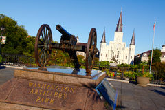 New Orleans Artillery Park St Louis Cathedral. A bright morning view of beautiful historic St. Louis Cathedral and  Jackson Square from waterfront Washington Royalty Free Stock Image
