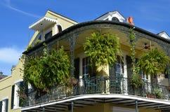 New Orleans Balcony Garden. Hanging plants cover a balcony near Bourbon Street in New Orleans, Louisiana Stock Photo