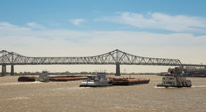 New Orleans - Barge Traffic on Mississippi River Stock Images