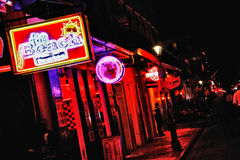 New Orleans Bourbon Street Bars and Food 2. The Beach Bar and Mr Chubby's Cheesesteaks, two of the bars and restaurants mixed in with the shops, strip clubs and