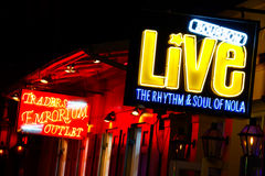 New Orleans Bourbon Street Music Halls and Shops royalty free stock photography