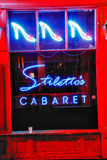 New Orleans Bourbon Street Stiletto's Cabaret. Stiletto's Cabaret strip club, one of many such establishments mixed in with the shops and music clubs on Bourbon stock image