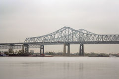New Orleans bridge. Bridge into New Orleans over Mississippi River Royalty Free Stock Photo