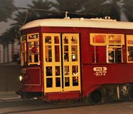New Orleans Cable Car. Cable car zooming by in the streets of New Orleans Royalty Free Stock Photo
