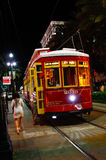 New Orleans Canal St. Street Car at Night Royalty Free Stock Images