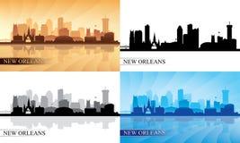 New Orleans city skyline silhouettes Set stock illustration