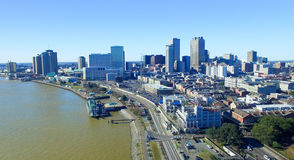 New Orleans cityscape along Mississippi Stock Photos