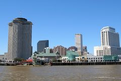 New Orleans coastline. View from Ferry to Algiers, looking back at skyline of New Orleans Stock Image