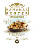 New Orleans Culture Collection Bananas Foster Dessert. New Orleans Culture Collection Bananas Foster Ice Cream Caramel Dessert Sweet Brennan`s Vanilla Sauce royalty free stock images