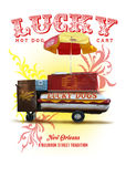 New Orleans Culture Collection Lucky Dog Hot Dog Cart. On Bourbon Street Royalty Free Stock Photos