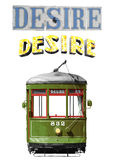 New Orleans Desire Streetcar. Isolated on white classic New Orleans legendary streetcar named Desire digital recreation plus sign marquee and street tiles royalty free stock images