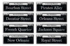 New Orleans Famous Street Signs Digital Scrapbook Elements. On each historic street of the French Quarter, black and white signs boast the infamous names of the royalty free stock image