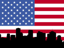 New Orleans with flag. New Orleans skyline with American flag Royalty Free Stock Image