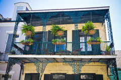 New Orleans- French Quarter Balcony. A building in the French Quarter of New Orleans with yellow brick walls, shutters and plants hanging on the balcony rails