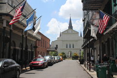 New Orleans French Quarter and Jackson Square. Streets of New Orleans, Louisiana - Typical houses of the French Quarter with traditional balconies. The city is royalty free stock images
