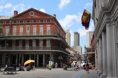 New Orleans French Quarter and Jackson Square. Streets of New Orleans, Louisiana - Typical houses of the French Quarter with traditional balconies. The city is royalty free stock photos