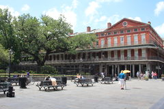 New Orleans French Quarter and Jackson Square. Streets of New Orleans, Louisiana - Typical houses of the French Quarter with traditional balconies. The city is stock photos
